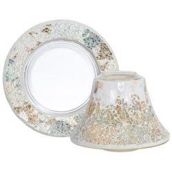 Yankee Candle Gold & Pearl Crackle kis búra és tányér