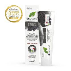 Dr. Organic Extra fehérítő fogkrém aktív szénnel